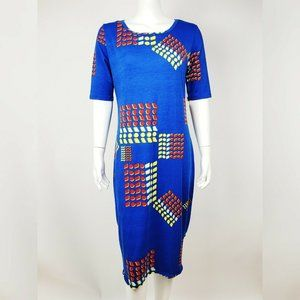 NWT LULAROE Blue Red Pattern Julia Dress L